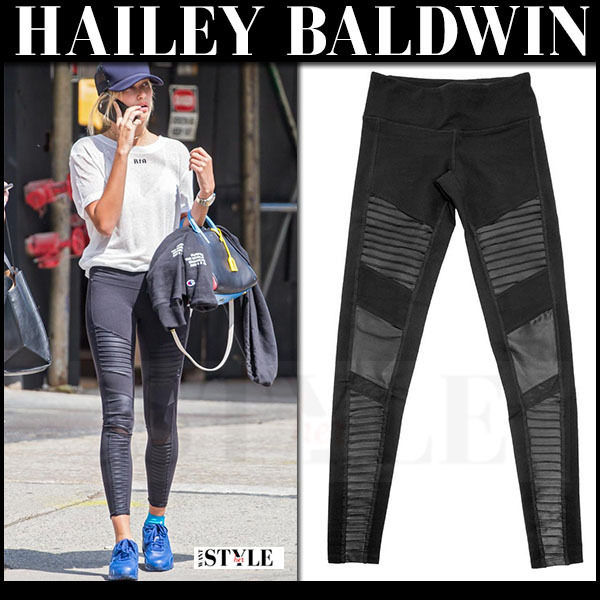 Hailey Baldwin in black Alo Yoga Athena leggings, white tee and blue Nike Air max 90 sneakers what she wore workout style