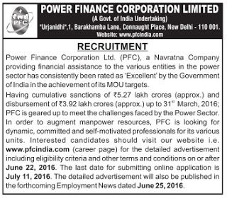 PFC Recruitment 2016 - 04 Officer,Senior Manager, Assistant Manager Posts