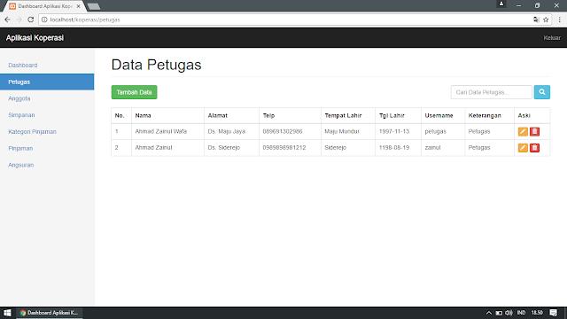 Pengelolaan Data Petugas Koperasi (Pengelolaan Data : Tampil, Tambah, Edit, Cari, Hapus)