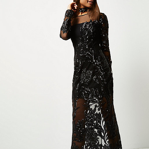 river black sequin mesh dress,