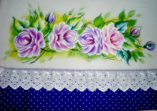 pintura em tecido rosas lilás