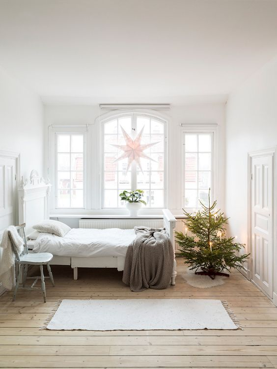image result for farmhouse christmas decorating with stars