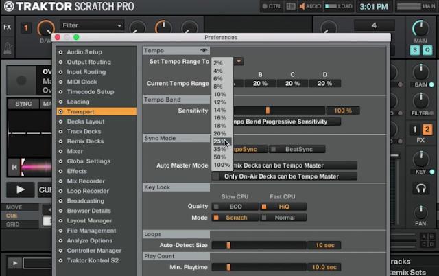 Maksud tempo range pada pengaturan Pitch software DJ