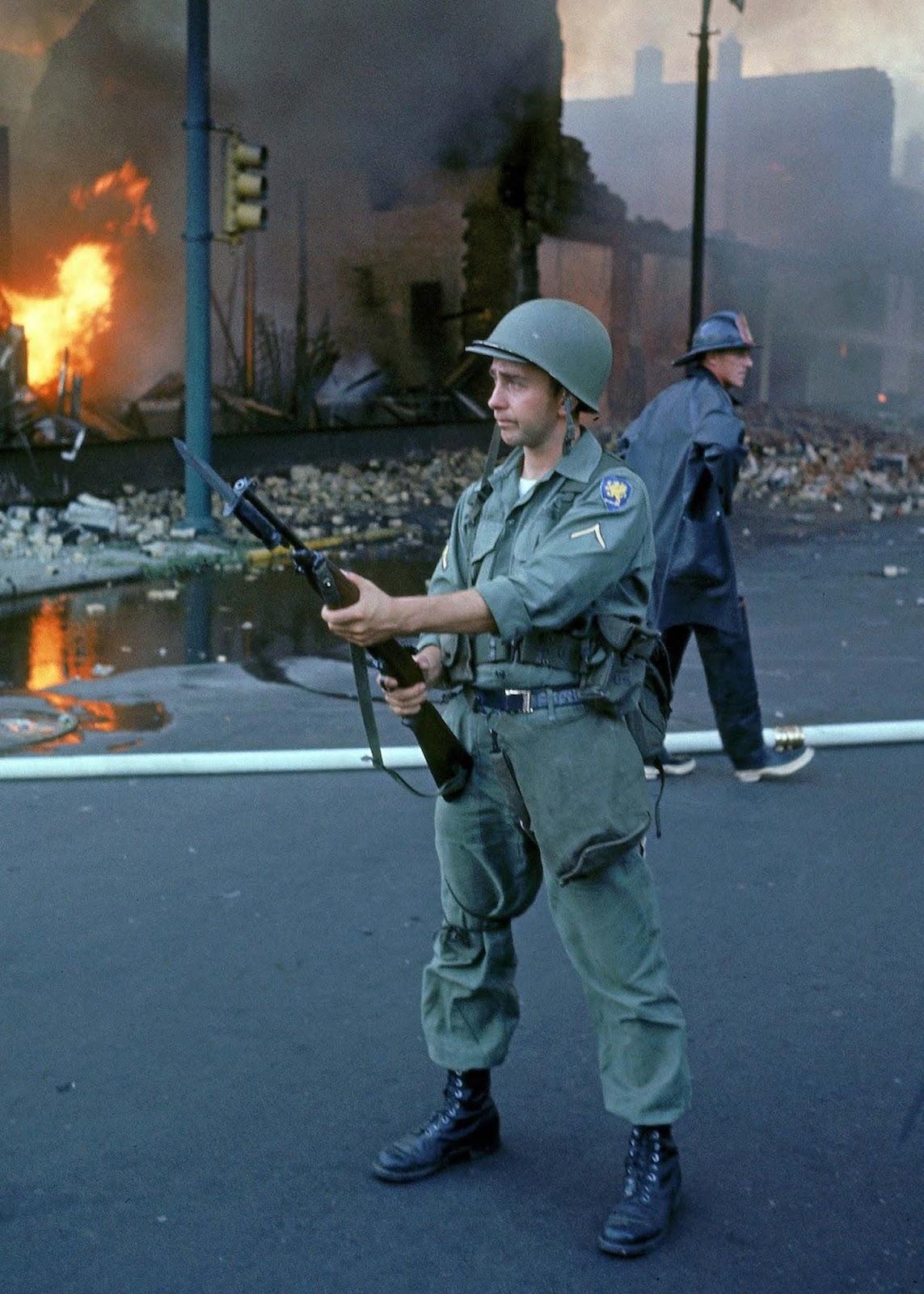 National Guardsman patroling a Detroit street.