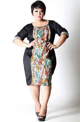 model baju batik wanita gemuk untuk kerja kantor