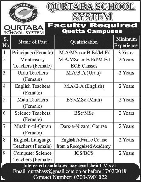 Today New Jobs in Qurtuba School 2018 Latest Advertisements Vacancies