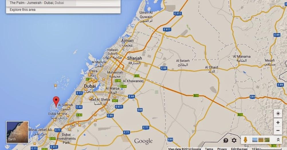 Detail The Palm Island Dubai Location Map UAE Dubai