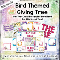 This Bird Themed Giving Tree is perfect to get your supplies for Back-to-School Nite or Open House!