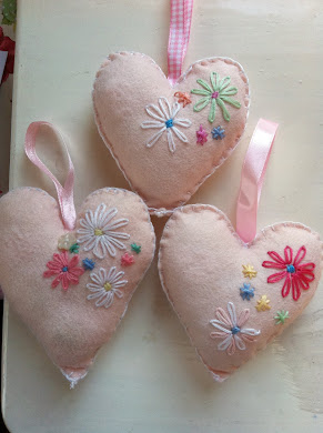 Felt embroidered hearts