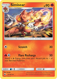 Simisear Burning Shadows Pokemon Card
