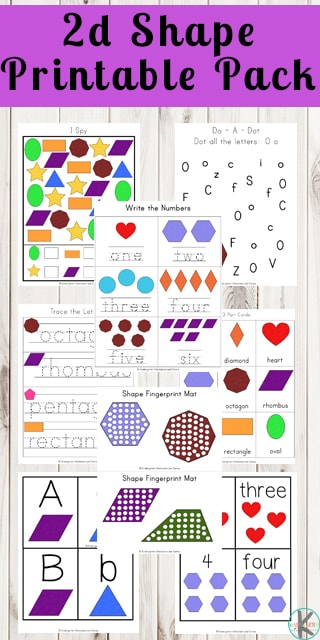 FREE 2D Shapes Printable Pack - these free printable workshets, tracing pages, alphabet cards, counting flashcards, shape do a dot / bingo marker, worksheets, counting activities, and more with these shapes: square, circle, rectangle, triangle, heart, star, pentagon, trapezoid, diamond, hexagon, octagon, rhombus, and oval #shapes #math #free #preschool #kindergarten #homeschooling #mathworksheets #printablepack