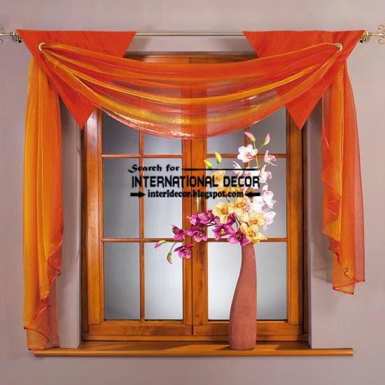 modern orange kitchen curtains scarf style