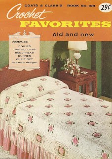 Crocheted Rose Bower Bedspread Pattern in flower blocks