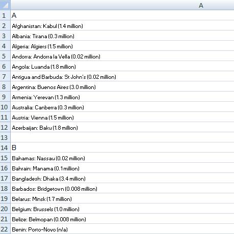 original data spreadsheet