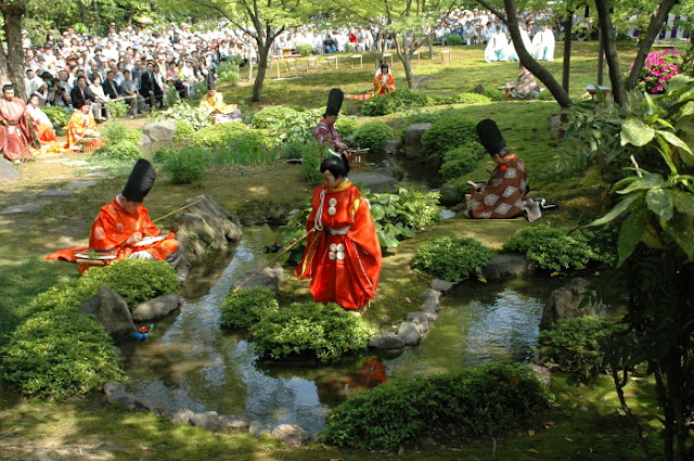 Kyokusui-no-en (poem writing) at Jonangu Shrine, Fushimiku, Kyoto
