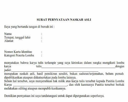Surat Pernyataan Naskah Asli