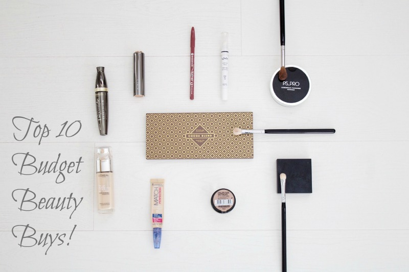 Top 10 budget beauty products blog post