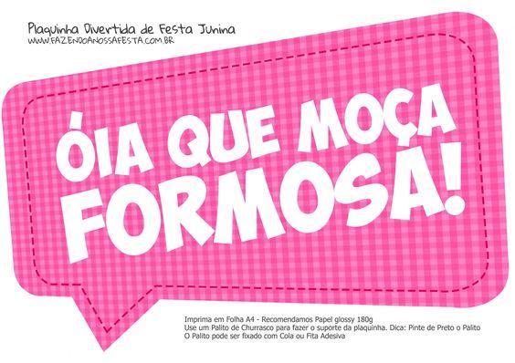 Plaquinhas Para Festa Junina Cereja Feminina