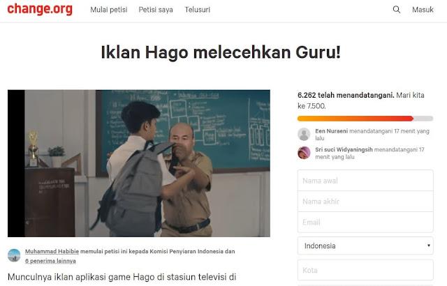Petisi Iklan Hago Melecehkan Guru