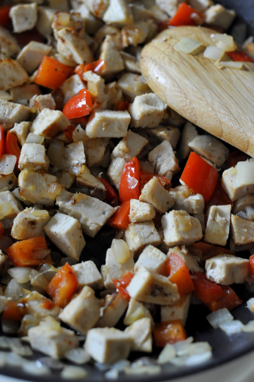 The topping for our Barbecue Chicken Pizza - diced chicken and sauteed bell peppers and onions!