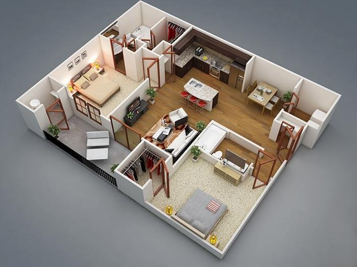 2+1 daire planı