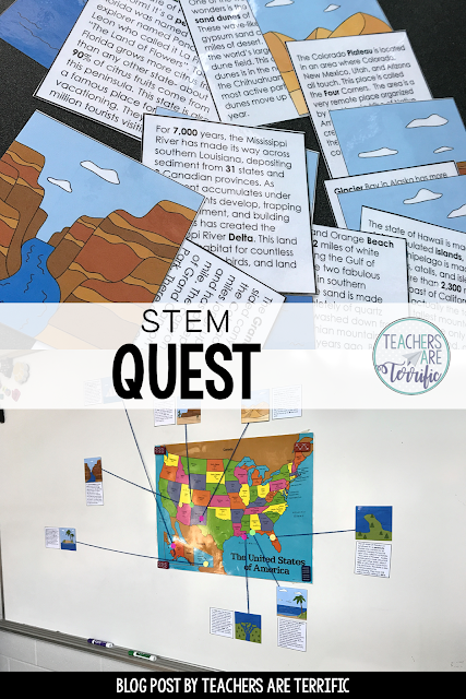 STEM Quest - Kids solve puzzles and follow clues using Landform information. Clues to lead to lock codes and they unlock the box to reveal the next task!