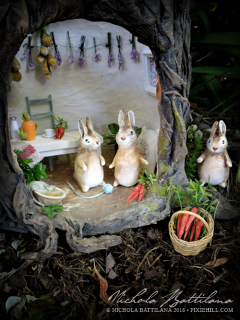 Beatrix Potter Tribute - Stump house and bunnies - Nichola Battilana