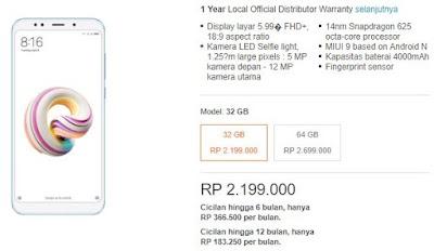 Harga Jual Xiaomi Redmi Plus 5 di Lazada Indonesia untuk dua varian berbeda.