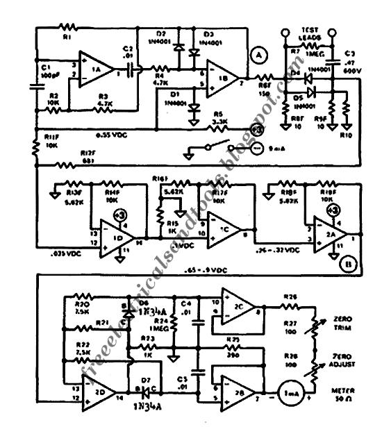 Free Schematic Diagram AC Ohmmeter - ESR Meter Circuit