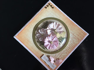 Hand made vintage style birthday card with paper flowers under a shaker dome
