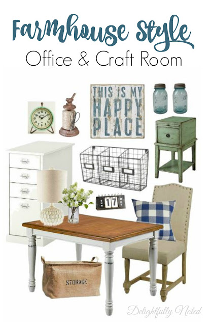 Love these farmhouse style ideas for a craft room or home office!