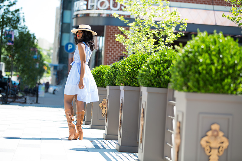 Summer Bliss Blue Stripes Flare Dress, schutz gladiator sandals, lack of color straw hat, www.jadore-fashion.com