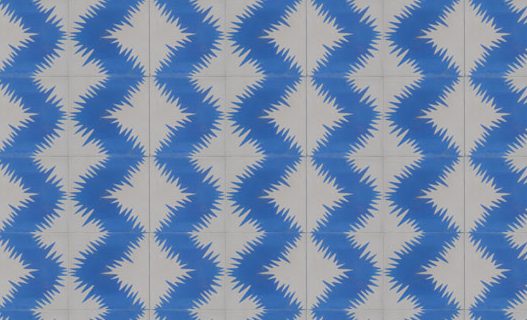 Blue and white zig zag cement tiles