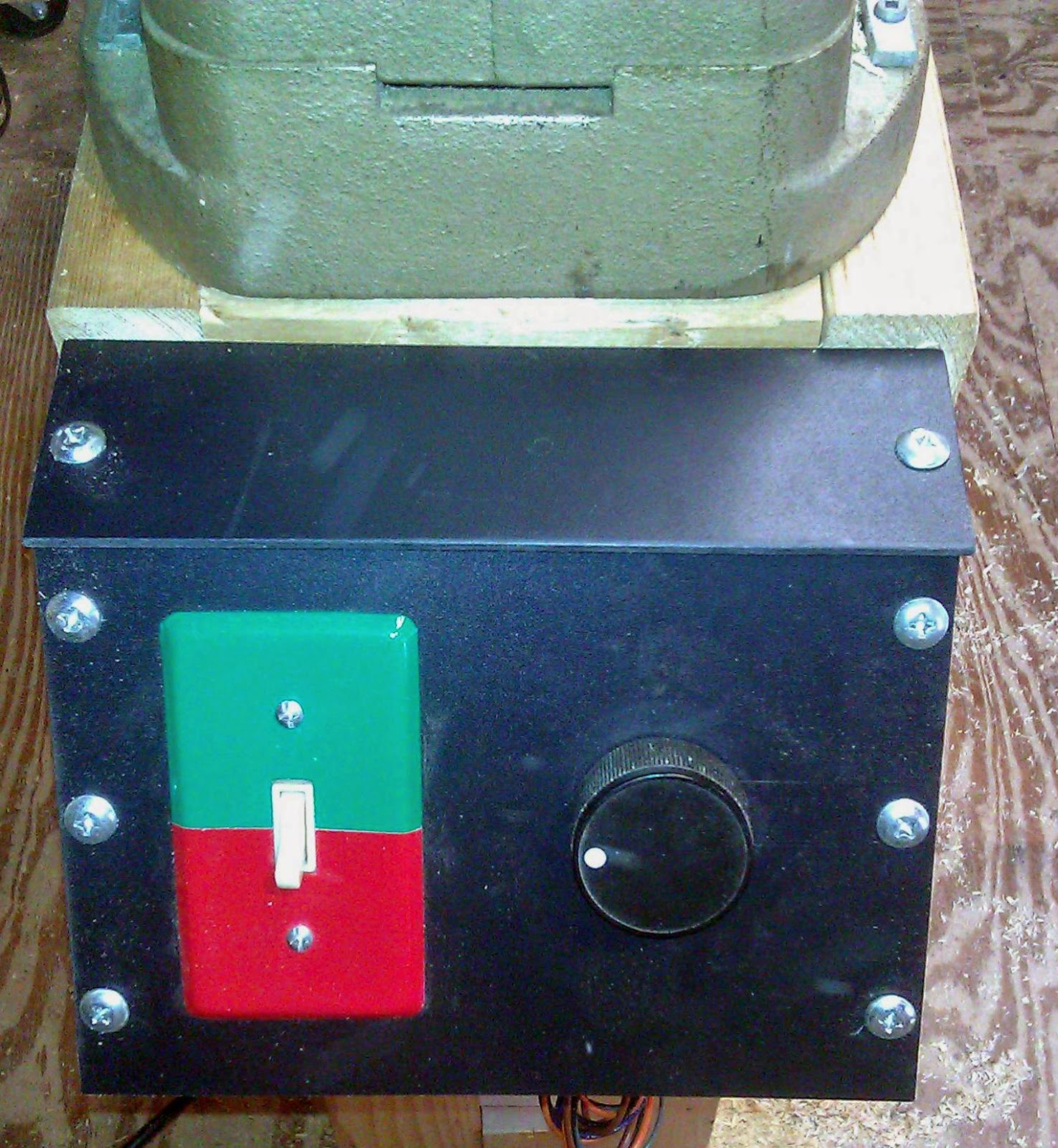 hight resolution of control panel that houses the controller switch and pot the switch plate is a bit garish but fun