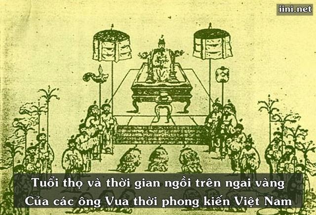 Tuổi thọ và thời gian ngồi trên ngai vàng của các vị Vua thời phong kiến