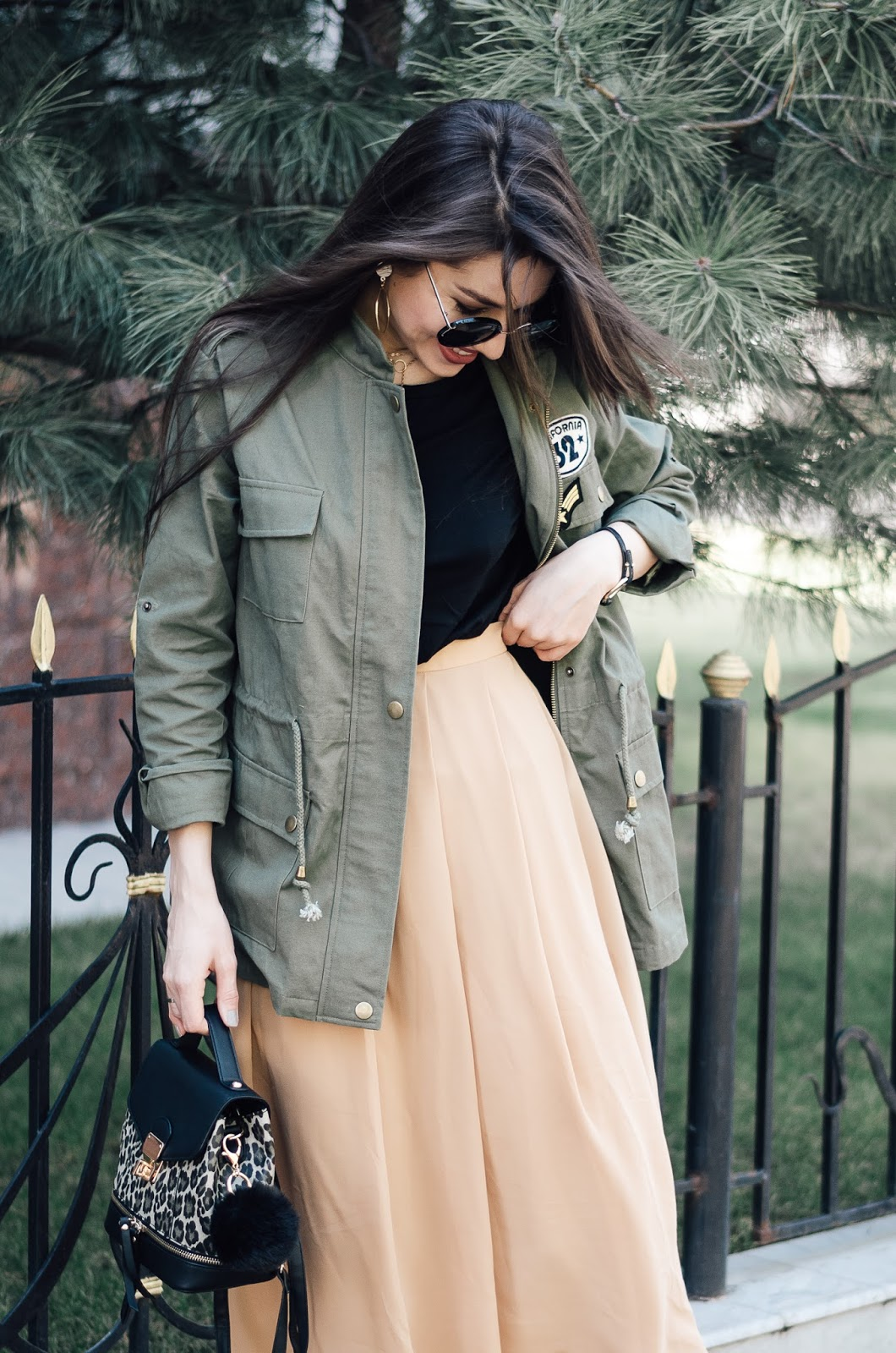 fashion blogger diyorasnotes chiffon midi dress outfit with parka boots shein