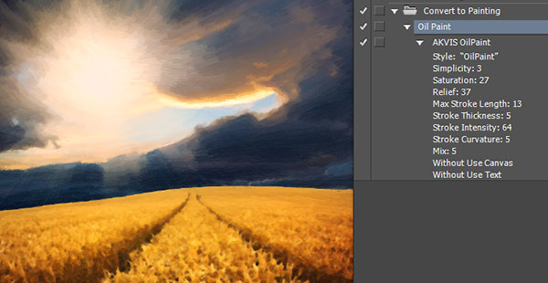 Akvis Oil Paint can be automated using Photoshop actions