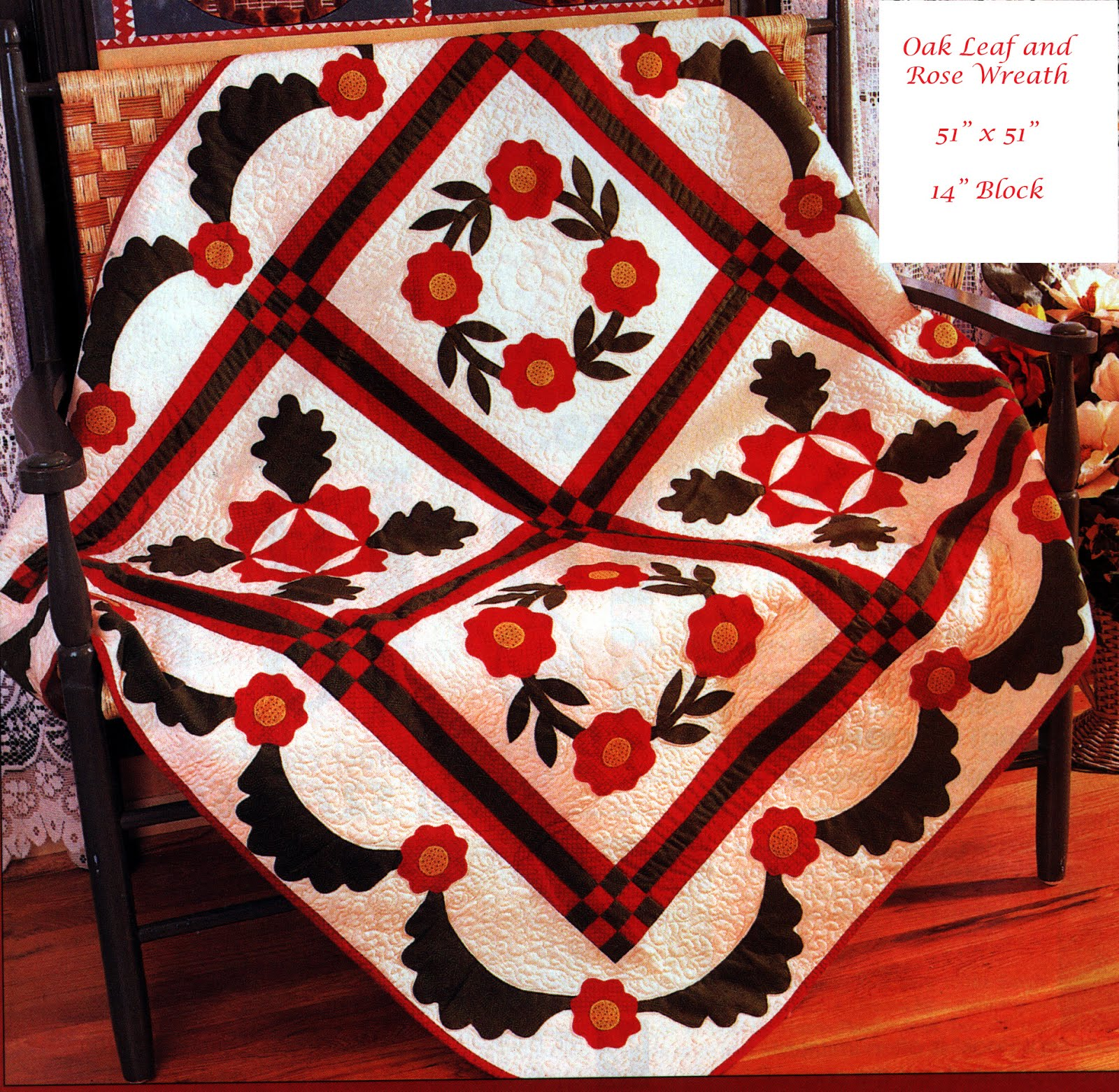 Oak Leaf and Rose Wreath Quilt