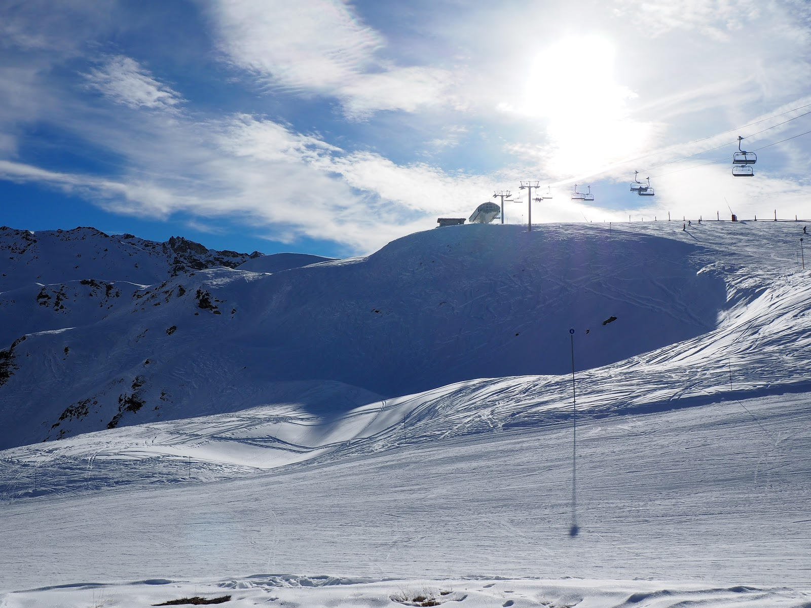 top of a snowy mountain in Val d'isere, France