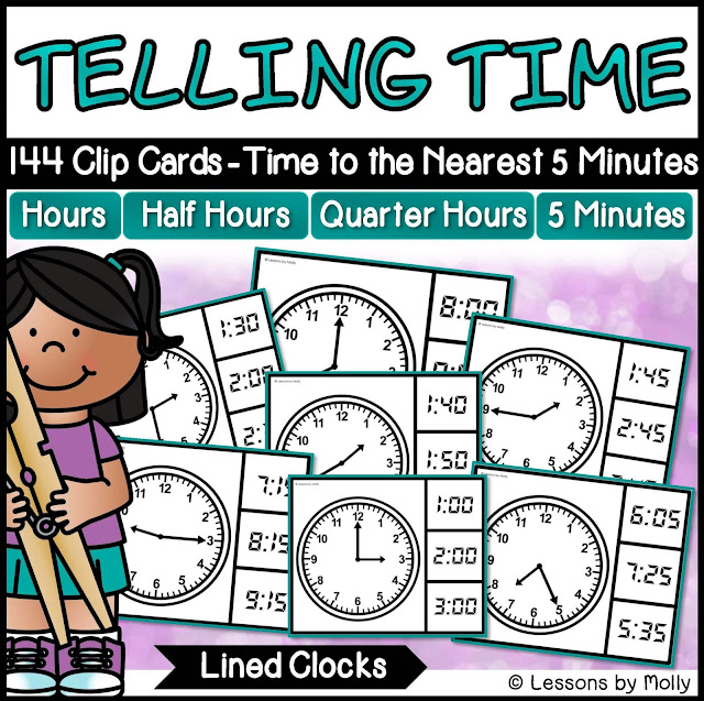 https://www.teacherspayteachers.com/Product/Telling-Time-to-the-Nearest-Five-Minutes-with-Analog-Clocks-Lined-2938025