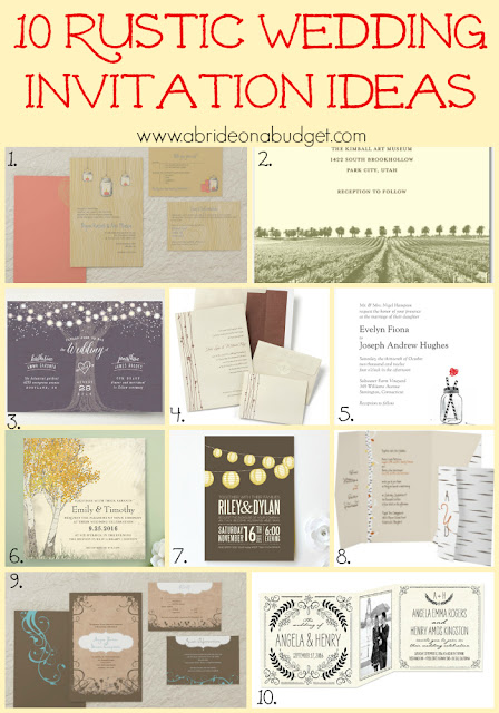 Are you planning a rustic wedding? Be sure to get started with these 10 Rustic Wedding Invitation Ideas from www.abrideonabudget.com.