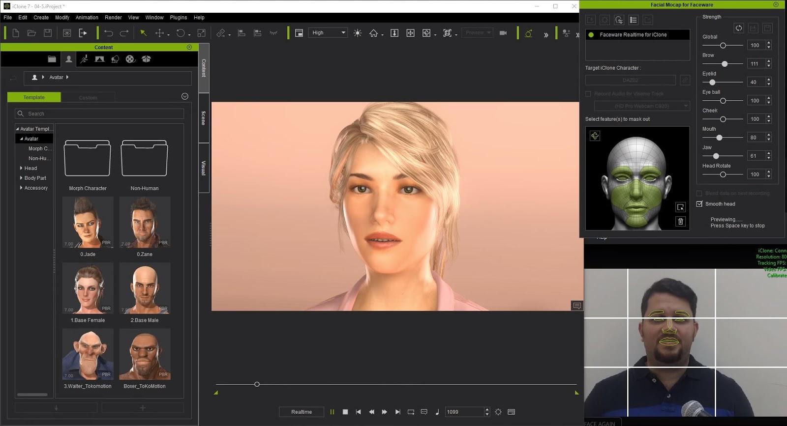 iClone Faceware Realtime Facial Mocap System   Computer