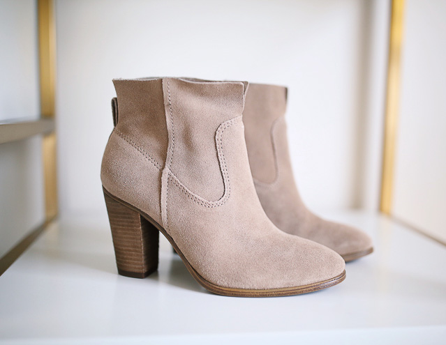 Vince Camuto Feina booties in khaki suede (from the #NSALE)