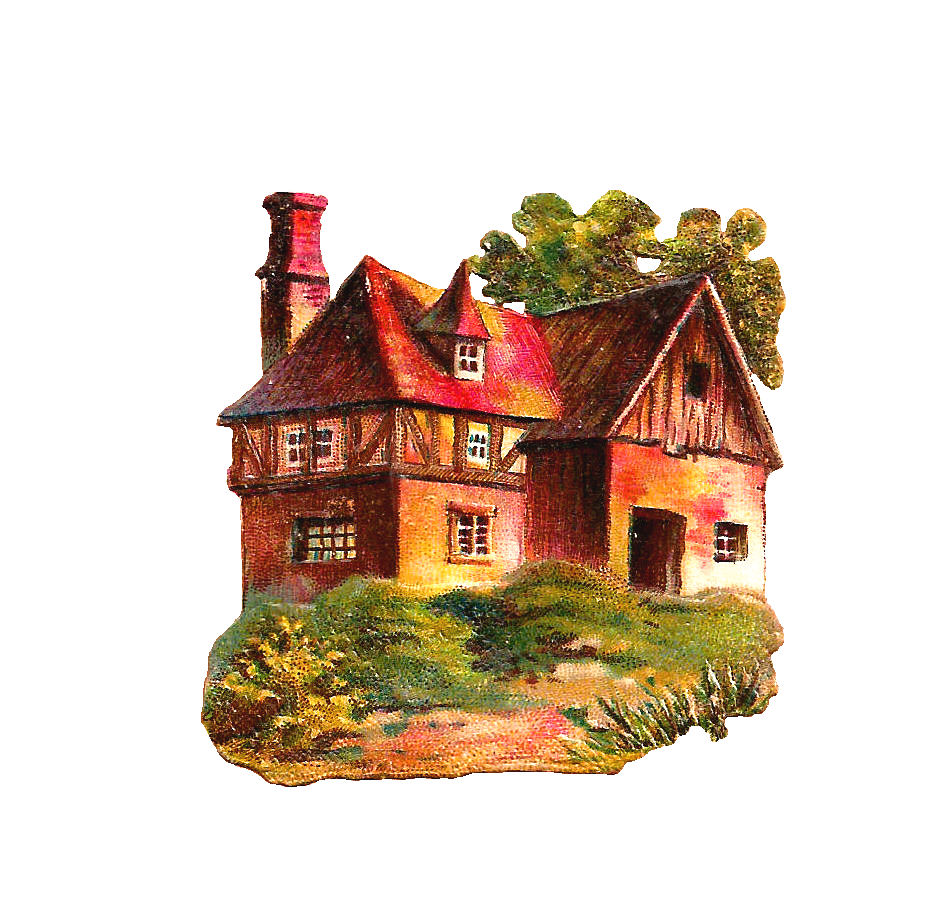 The First One Is A Pretty Little European Cottage In Springtime And Second Antique House Image Quaint Cabin Winter