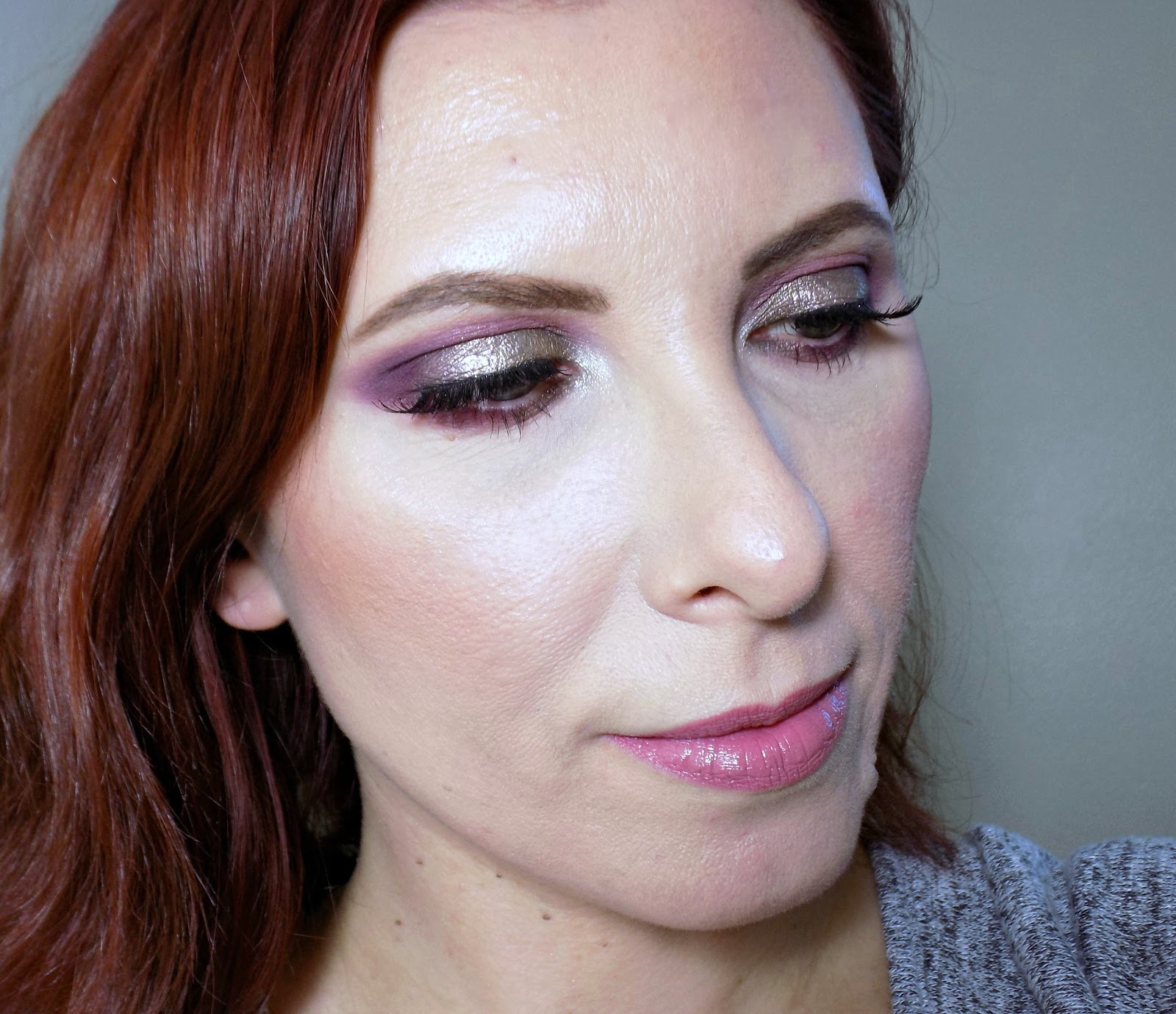 Purple eye makeup full face look