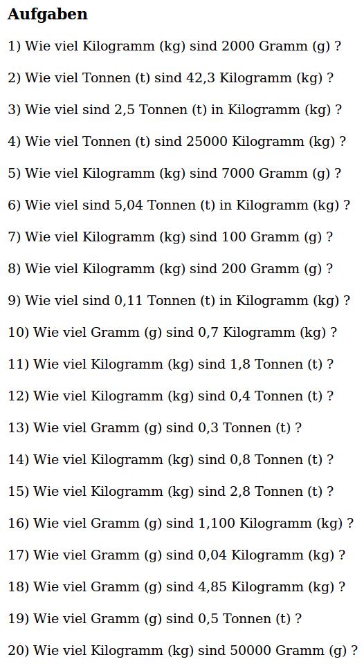 Mathe ist einfach: Aufgaben Gewichtumrechnung Blatt 3