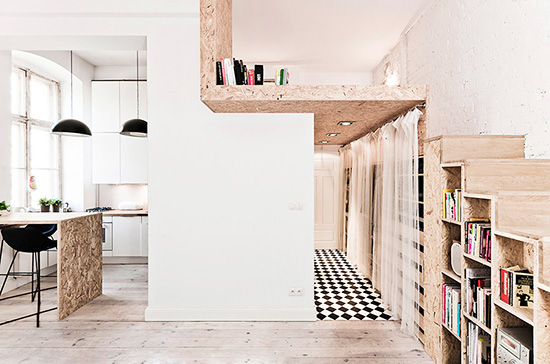 lit mezzanine et escalier caisson pour petits espaces et gain de place