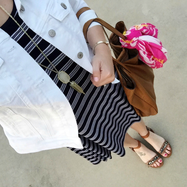 swing dress, jeweled sandals, white denim jacket