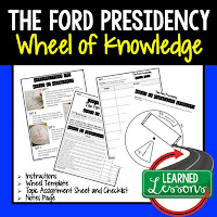 President Ford, Progressive Era, American History Activity, American History Interactive Notebook, American History Wheel of Knowledge