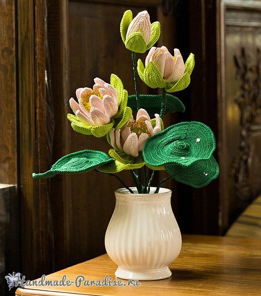 Большие цветы крючком - букет лотосов (1)